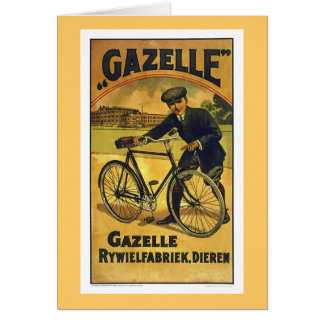 Gazelle Cycles Vintage Bicycle Poster Card