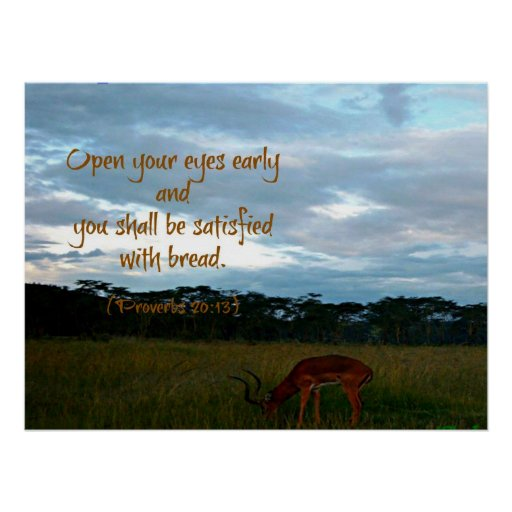 Gazelle with Proverbs Bible verse Open your eyes Print