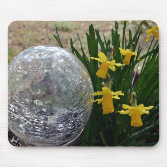 Gazing Ball and Daffodils after a rain Mouse Mat
