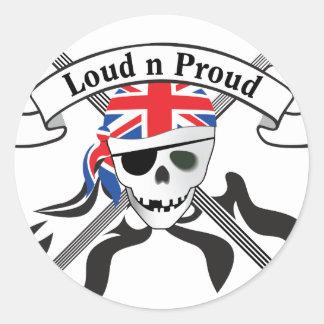 GB Scull & Guitars Round Sticker