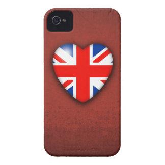 GBUnion Jack Heart on deep red iPhone 4 Case