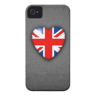 GBUnion Jack Heart on grey iPhone 4 Case-Mate Cases