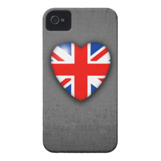 GB Union Jack Heart on grey grunge iPhone 4 Cover