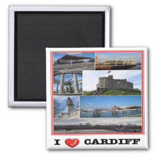 GB - Welsh - Cardiff - I Love - Collage Mosaic Square Magnet