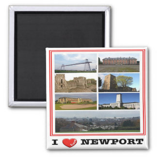 GB - Welsh - Newport - I Love - Collage Mosaic Square Magnet