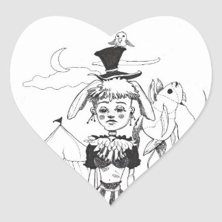 """G'bye My Clown"" Heart Shaped Sticker"