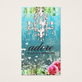 GC Adore Vintage Turquoise Gold Metallic Business Card