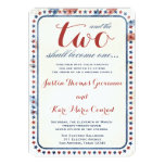 GC All American Red White Blue Wedding Ivitation 13 Cm X 18 Cm Invitation Card