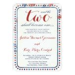 "GC All American Red White Blue Wedding Ivitation 5"" X 7"" Invitation Card"
