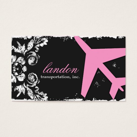 GC Aviation Take Off Pink Damasn Business Card