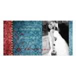 GC | Bejeweled Turquoise & Red Thank You Photo Card Template
