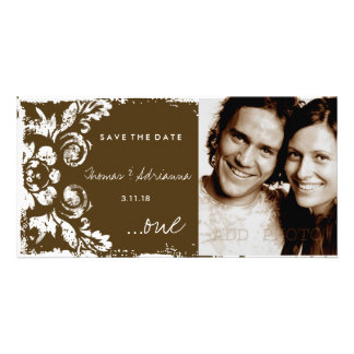 GC   Brown Vintage Damask Save the Date Photo Card