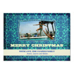 GC | Cool Blue Vintage | Merry Christmas 13 Cm X 18 Cm Invitation Card