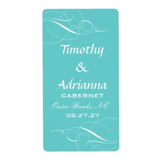GC Elegant Blue Wedding Wine Label