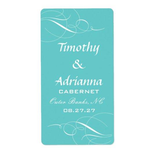 GC Elegant Blue Wedding Wine Label Shipping Label