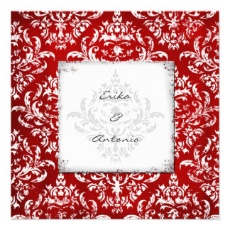 GC Erika Vintage Damask Ruby Red Personalized Announcement