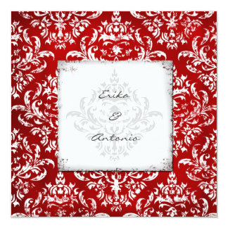 "GC Erika Vintage Damask Ruby Red 5.25"" Square Invitation Card"