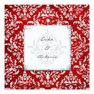 GC Erika Vintage Damask Ruby Red 13 Cm X 13 Cm Square Invitation Card