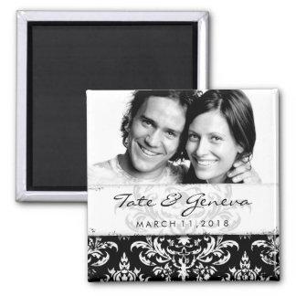 GC | Erika Vintage Damask Save the Date-Black Magnet