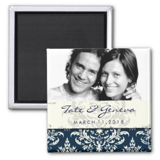 GC | Erika Vintage Damask Save the Date Navy Magnet