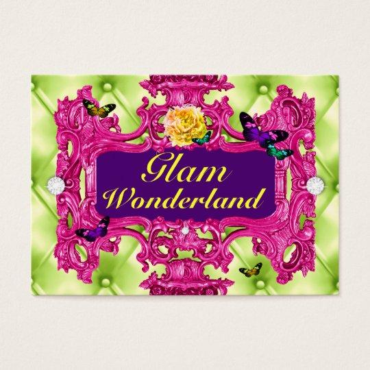 GC Glam Wonderland Pink Lime Tuft Business Card