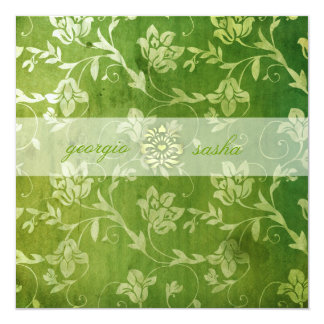GC | Gorgeous Green Floral Vintage Card