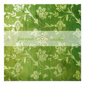 GC Gorgeous Green Floral Vintage Personalized Announcement