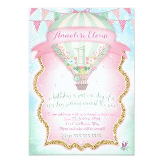 GC Hot Air Balloon First Birthday 13 Cm X 18 Cm Invitation Card