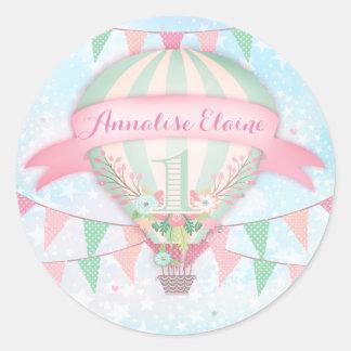 GC Hot Air Balloon First Birthday Sticker Round 2