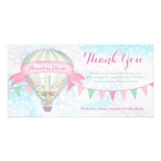 GC Hot Air Balloon First Birthday Thank You Picture Card