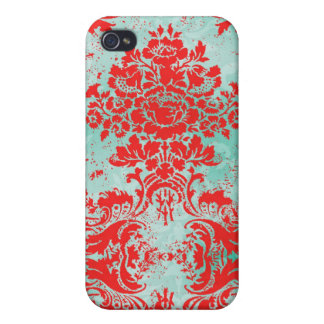 GC iPhone 4 Vintage Turquoise Red damask iPhone 4/4S Cover