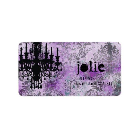GC | Jolie Chandelier Purple Grey Damask Label