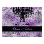 GC | Jolie Chandelier Purple Grey Damask Post Card