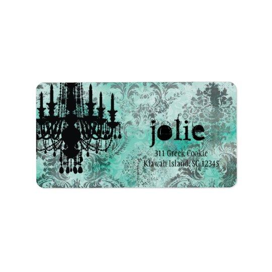 GC | Jolie Chandelier Turquoise Lime Damask Address Label