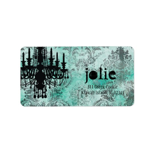 GC | Jolie Chandelier Turquoise Lime Damask Label