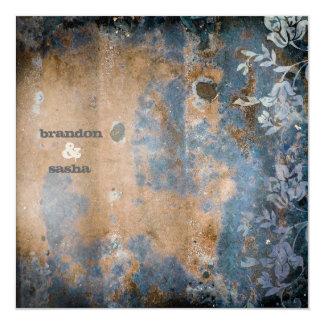 "GC | Lusciously Rustic w/flower | Golden Metallic 5.25"" Square Invitation Card"