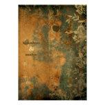 GC | Lusciously Rustic w/flower | Golden Metallic Invitation