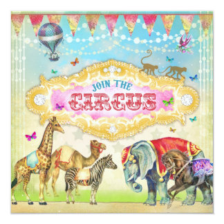 GC Magical Join the Circus Vintage Girl Invite