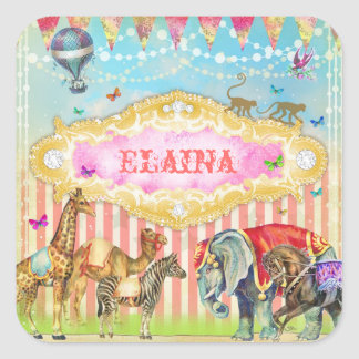 GC Magical Join the Circus Vintage Square Sticker