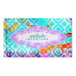 GC Modern Colourful Clover Violet Name Plate Pack Of Standard Business Cards