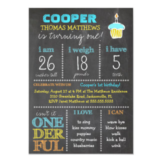 GC Onederful First Birthday Boy Chalkboard 13 Cm X 18 Cm Invitation Card