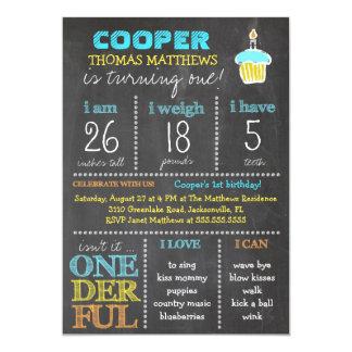 GC Onederful First Birthday Boy Chalkboard 13 Cm X 18 Cm Invitation Card
