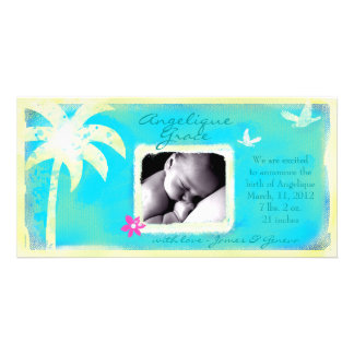 GC | Paradise Found Baby Girl Announcement Personalised Photo Card