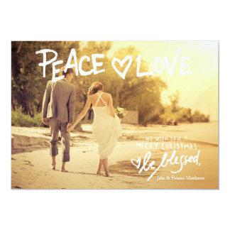 GC Peace Love Handwritten Typography Holiday Card 13 Cm X 18 Cm Invitation Card