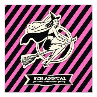 GC Pink Retro Pinup Halloween Striped Invite