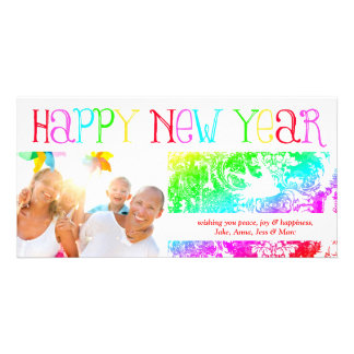 GC Rainbow Happy New Year Bird Photo Cards