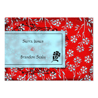 GC | Ruby Red & Turquoise Garden Inivtation 13 Cm X 18 Cm Invitation Card