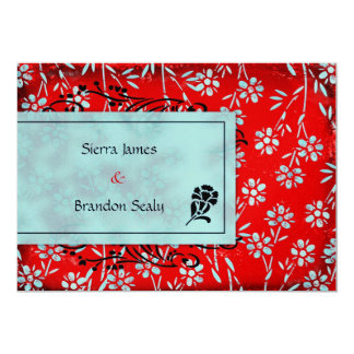 GC | Ruby Red & Turquoise Garden Metallic 13 Cm X 18 Cm Invitation Card