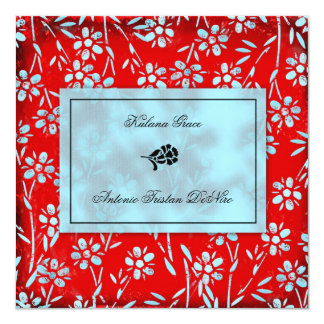 GC | Ruby Red & Turquoise Garden Square Inivtation 13 Cm X 13 Cm Square Invitation Card
