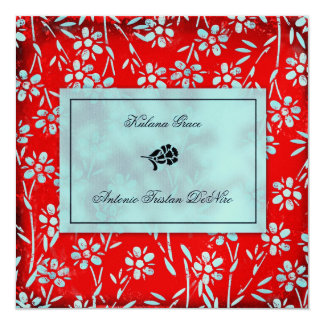 GC | Ruby Red & Turquoise Garden Square Metallic 13 Cm X 13 Cm Square Invitation Card